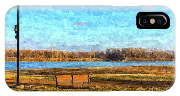Simple iPhone Case - Missouri River Bench Painterly by Jennifer White