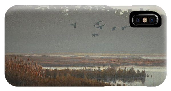 IPhone Case featuring the painting Misty Marsh by Peter Mathios
