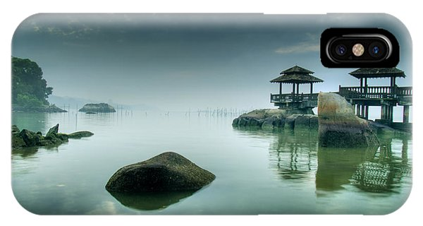 Illusion iPhone Case - Misty Morning As Seen Over Rocks by Lawrence Wee