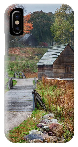 misty morning at Saugus Ironworks IPhone Case