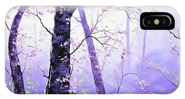 Sun Rays iPhone Case - Misty Pink Trees Forest by Graham Gercken