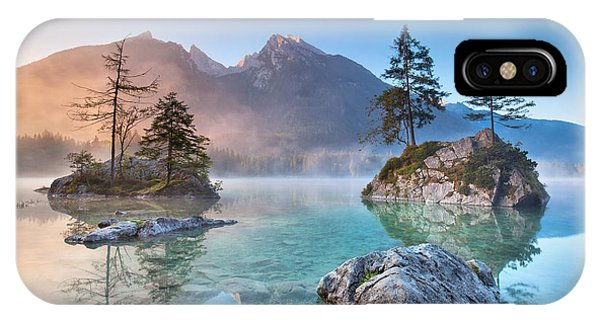 Spring Mountains iPhone Case - Misty Summer Morning On The Hintersee by Jenny Sturm