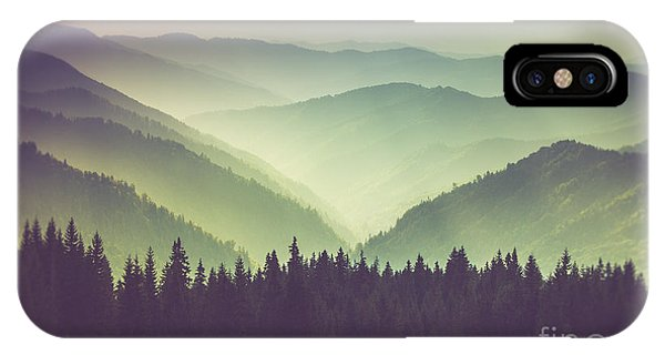 Layer iPhone Case - Misty Summer Mountain Hills Landscape by Volodymyr Martyniuk