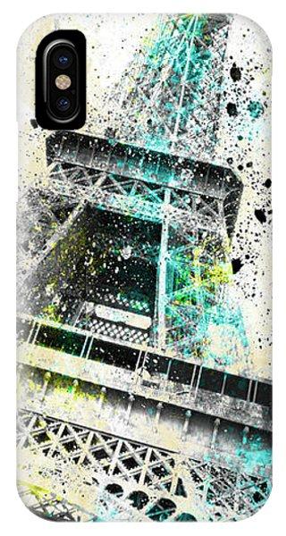 French iPhone Case - Modern Art Eiffel Tower Splashes - Panorama by Melanie Viola