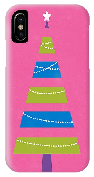 Christmas Tree iPhone Case - Modern Glam Christmas Tree 2- Art By Linda Woods by Linda Woods