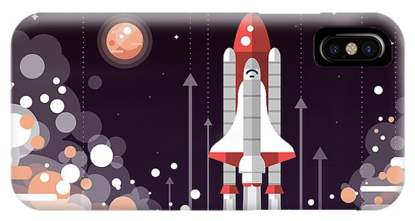Space iPhone Case - Modern Vectorflat Design Illustration by Boyko.pictures
