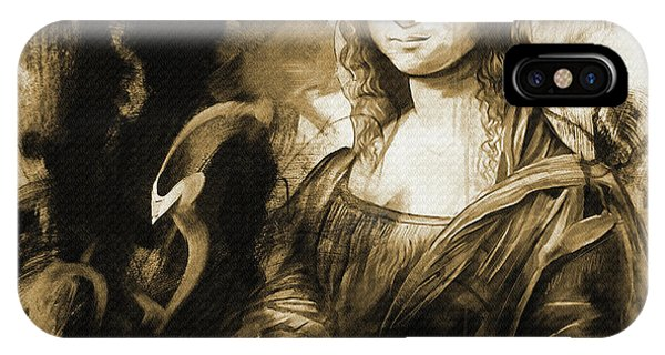 Lupita iPhone Case - Mona Lisa Sepia Art by Gull G