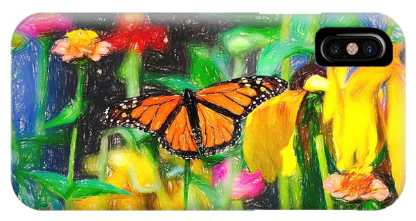 Monarch Butterfly Colored Pencil IPhone Case