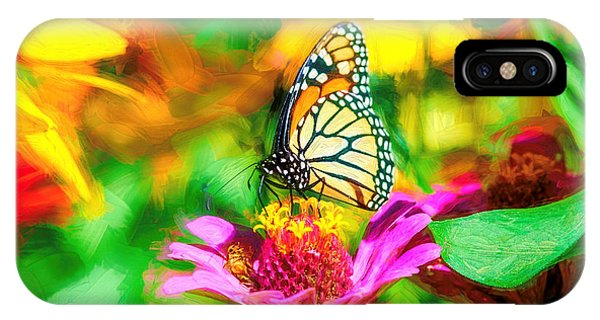 Monarch Butterfly Impasto Colorful IPhone Case