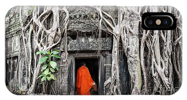Monk In Angkor Wat Cambodia. Ta Prohm Phone Case by Banana Republic Images