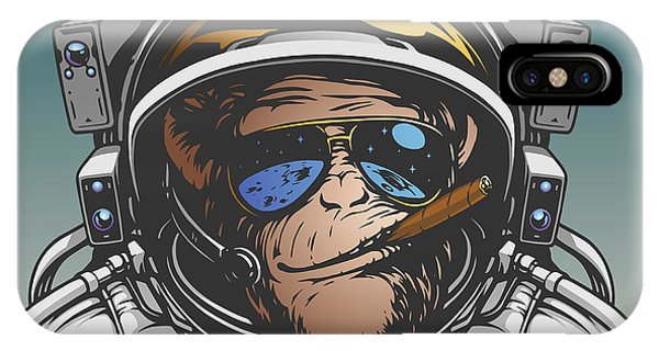 Space iPhone Case - Monkey Astronaut Illustration by D1sk