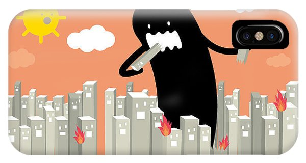Cloudscape iPhone Case - Monster In The City Vectorillustration by Lyeyee