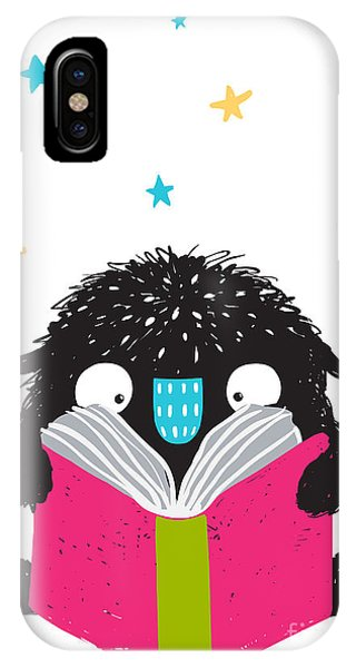 Students iPhone Case - Monster Reading Book Cartoon For Kids by Popmarleo