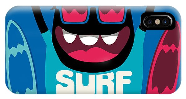Surfboard iPhone Case - Monster Surfer Vector Character Design by Braingraph