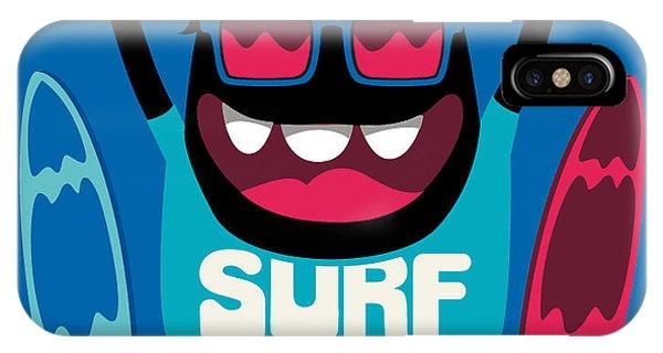 Danger iPhone Case - Monster Surfer Vector Character Design by Braingraph