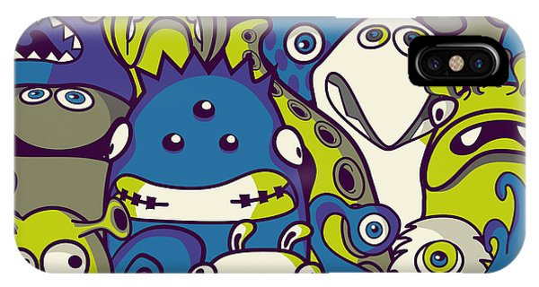 Futuristic iPhone Case - Monsters And Aliens- Seamless Background by Trendywest