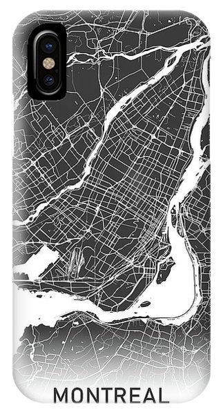 Quebec City iPhone Case - Montreal Map Black And White by Delphimages Photo Creations