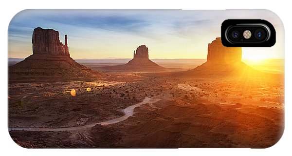 Rock Formation iPhone Case - Monument Valley At Sunrise by Im photo