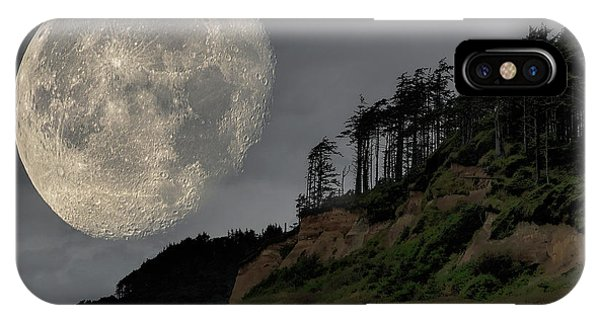 IPhone Case featuring the photograph Moon And Beach by Bob Cournoyer