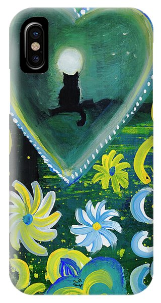 IPhone Case featuring the painting Moon Cat Ornament by Dobrotsvet Art