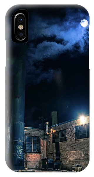 Shadow iPhone Case - Moon Over Industrial Chicago Alley by Bruno Passigatti