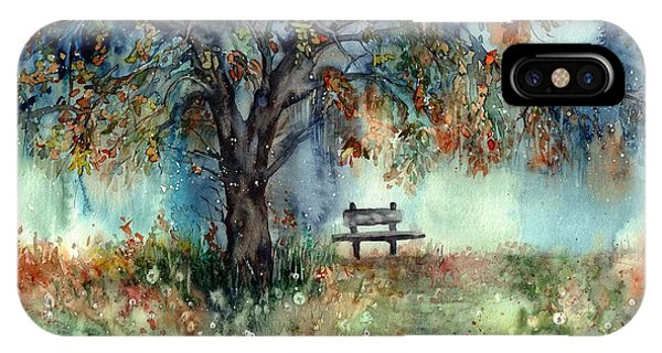 Park Bench iPhone Case - Moonlight Shadows by Suzann Sines