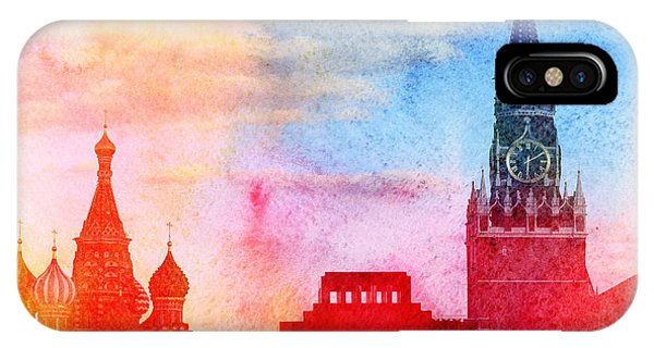 Culture iPhone Case - Moscow Kremlin, Lenin Mausoleum And St by Tanor