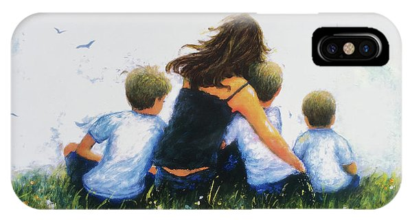 My Son iPhone Case - Mother And Three Sons Hugging Blonde Boys by Vickie Wade