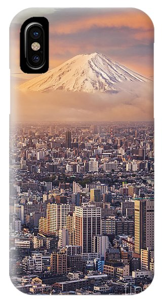 Dusk iPhone Case - Mount Fuji And Japan Cityscape In by Sahachatz