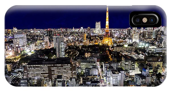 Dusk iPhone Case - Mount Fuji And Tokyo City In Twilight by 10 Face