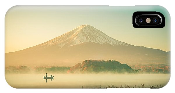 White Mountains iPhone Case - Mount Fuji Landscape In Japan Vintage by Focusstocker