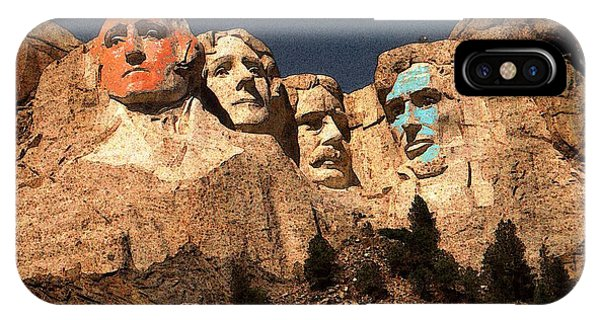 Mount Rushmore Red And Blue Drawing IPhone Case