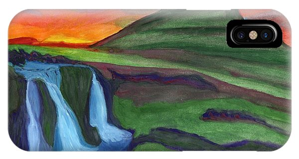 Mountain And Waterfall In The Rays Of The Setting Sun IPhone Case