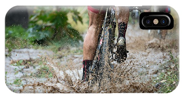 Mountain Bikers Driving In Rain Phone Case by Pavel1964