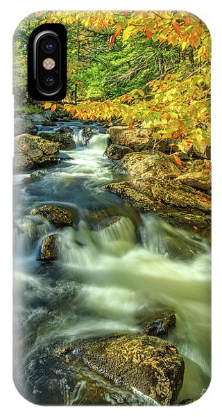 New England Fall Foliage iPhone Case - Mountain Brook Fairgrounds Road Bradford New Hampshire by Edward Fielding