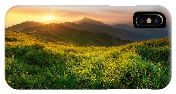 Beautiful Sunrise iPhone Case - Mountain Valley During Sunrise. Natural by Biletskiy
