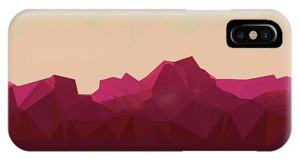 Simple Landscape iPhone Case - Mountainous Terrain, Polygonal by Droidworker