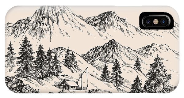 Peace iPhone Case - Mountains Landscape And A Sheepfold by Danussa