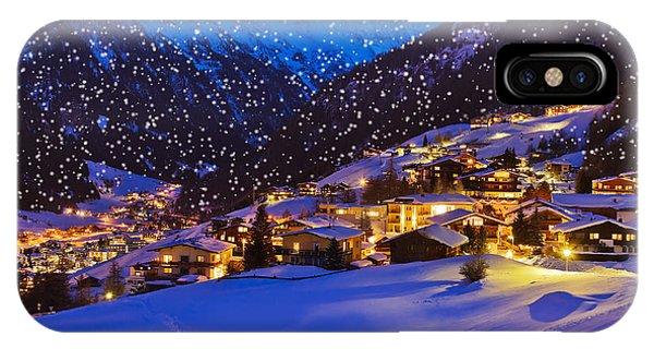 Hotel iPhone Case - Mountains Ski Resort Solden Austria - by Tatiana Popova