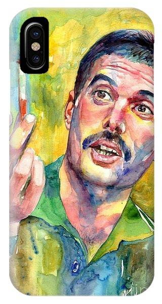 Legends Music iPhone Case - Mr Bad Guy - Freddie Mercury Portrait by Suzann's Art