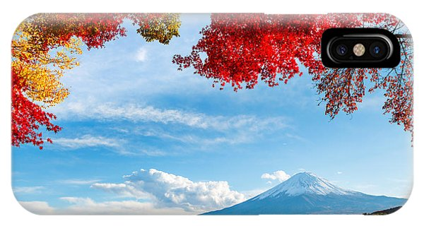 Leave iPhone Case - Mt. Fuji In Autumn by Esb Professional