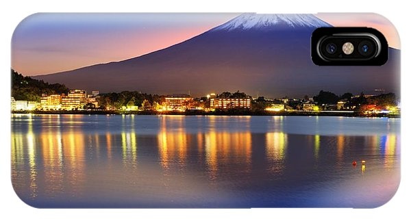 Beautiful Sunrise iPhone Case - Mt. Fuji, Japan At Lake Kawaguchi After by Sean Pavone