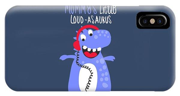 Mummy's Little Loud-asaurus - Baby Room Nursery Art Poster Print IPhone Case