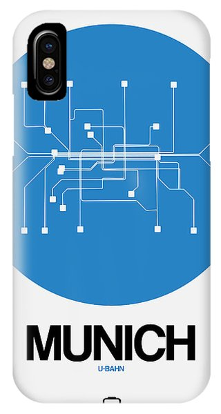 Trip iPhone Case - Munich Blue Subway Map by Naxart Studio