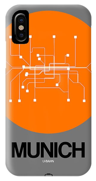 Trip iPhone Case - Munich Orange Subway Map by Naxart Studio