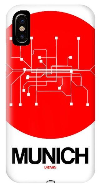 Trip iPhone Case - Munich Red Subway Map by Naxart Studio