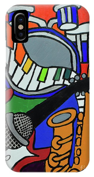 IPhone Case featuring the painting Music Vibes by Christopher Farris