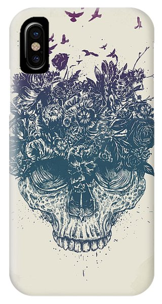 Skull iPhone Case - My Head Is Jungle by Balazs Solti