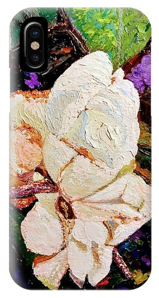 IPhone Case featuring the painting My Impasto Flowers by Ray Khalife