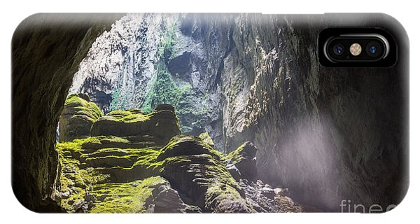 Smoke Fantasy iPhone Case - Mystery Cave Entrance With Rocks, Mist by Vietnam Stock Images